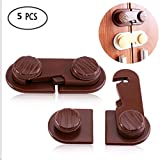 Adhesive Child Safety Locks, 5Pcs Creative Childproof Latches with Strong Double-sided Adhesive Used for Cabinet Fridge Drawer Cupboard Door to Protect Children Kids Baby Toddler(Brown)
