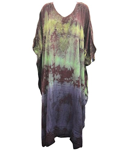 Boho Kaftan Caftans Green Brown Tie Dye Embroidered Womans Patio Maxi Dress Plus Size