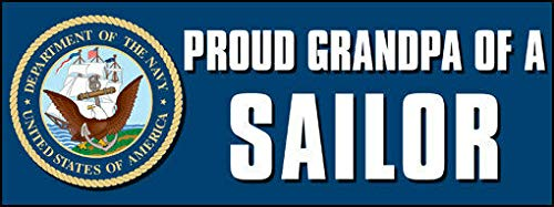 JR Studio 3x9 inch Proud Grandpa of a Sailor Bumper Sticker (Logo Seal Navy Naval) Vinyl Decal Sticker Car Waterproof Car Decal Bumper Sticker