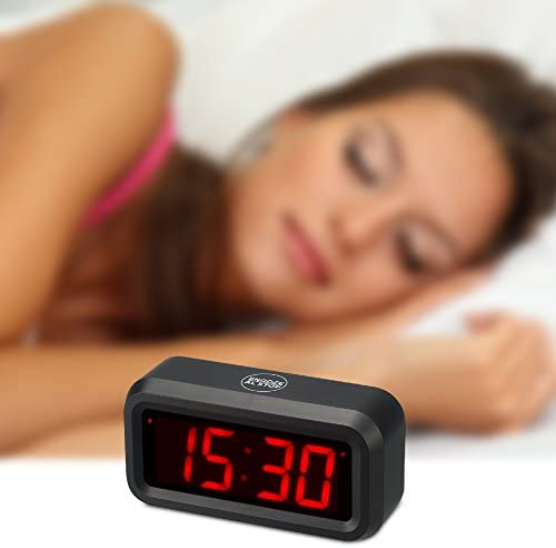 KWANWA Travel Digital Clock with LED Display Battery Operated Powered Only Small Home or Portable Design Loud, Clear Sounds