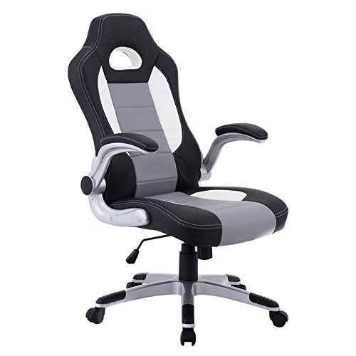 PU Leather Executive Racing Style Bucket Seat Chair Sporty Office Desk Chair New (Oak Steamer Trunk)