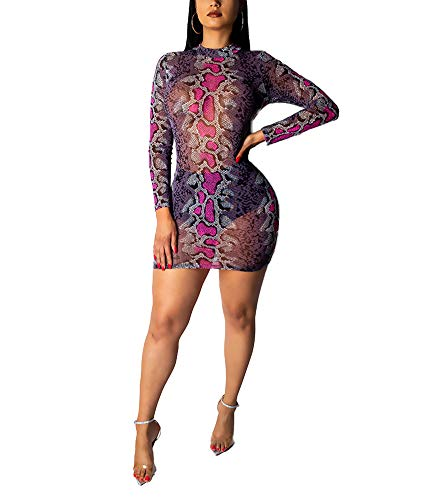 Ophestin Womens Sexy Snakeskin Print See Through Tulle Mini Dress for Club Fuchsia Size L