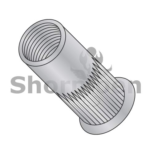 SHORPIOEN Small Head Ribbed Threaded Insert Rivet Nut Aluminum Cleaned and Polished 10-24-.130 BC-LA-10130S (Box of 1000)