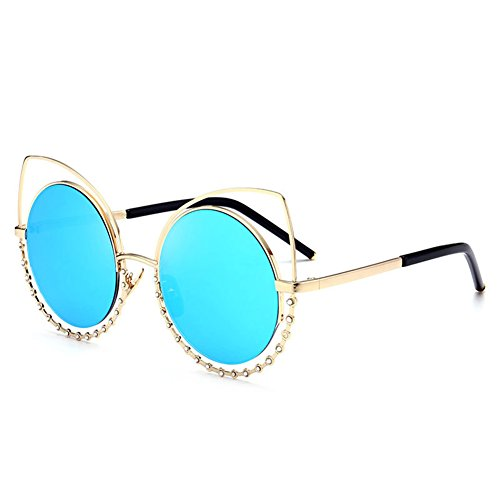 JOJO Girl Sunglasses Avant-garde Diamond Reflective Cat Eye Crystal Metal Frame Women - Aviator Cute Sunglasses