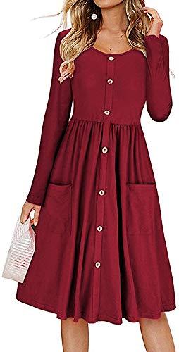 LunaJany Women's Long Sleeve Button Trimmed Front Pocket Pleated Swing Dress Medium Wine