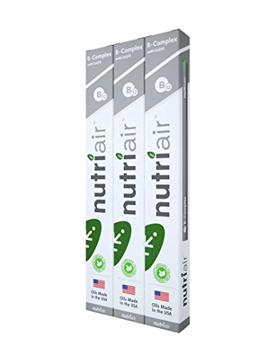 Nutriair B-Complex B12 Inhaler - Nutritional Aromatherapy Pen with CoQ10 – Essential B Vitamin/Energy Supplement - B12, B6, B2, B1 - Nicotine Free, Great Tasting Flavor with NO Calories - - Replacement Nicotine