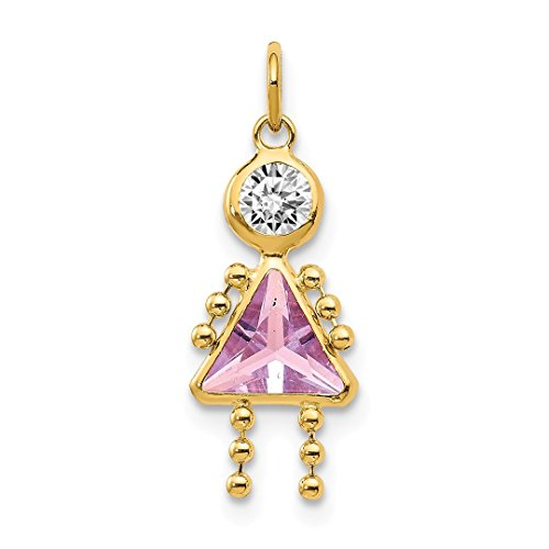 14k Yellow Gold June Girl Birthstone Pendant Charm Necklace Kid Fine Jewelry For Women Gift Set