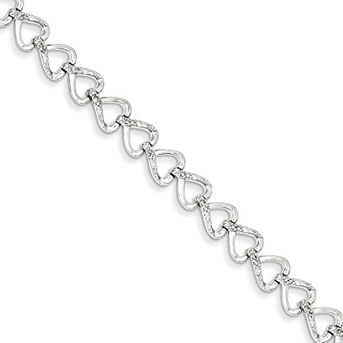Sterling Silver Diamond Hearts Bracelet by CoutureJewelers