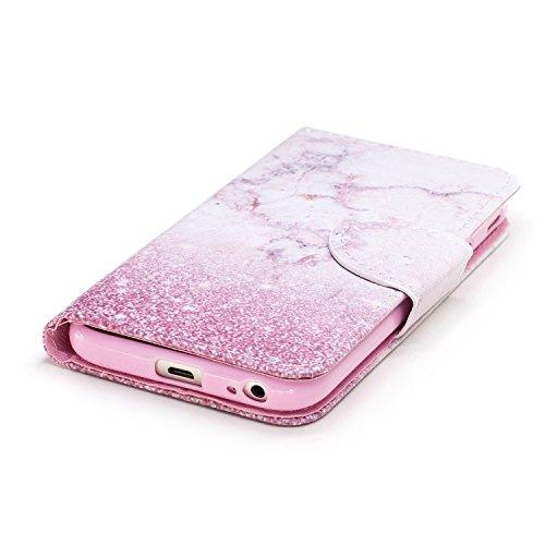 Handyhülle für Samsung Galaxy J3 2017,(Nicht für 2015/2016 Version) BtDuck Ultra Slim Weich Silikon Cover Innere mit Standfunktion Bookstyle Tasche Magnet Leder Schutztasche Schutzhülle für Samsung Ga Galaxy J3 2017-Rosa Marmor
