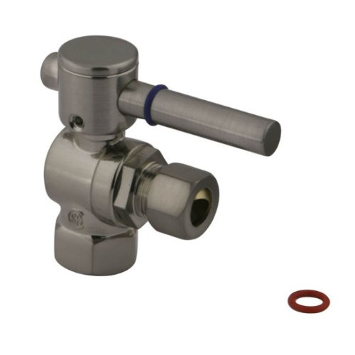 Kingston Brass CC33108DL Concord 3/8-Inch IPS X 3/8-Inch OD Compression Angle Stop Valve, Satin ()