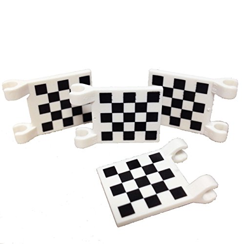 Lego Parts: Flag 2 x 2 Square with Checkered Pattern (PACK of 4 - - F1 Flags Racing