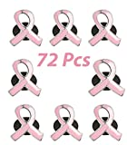 Pink Ribbon Pins Bulk Pack of 72, Breast Cancer Fundraising & Awareness Metal Lapel Pins, by 4E's Novelty