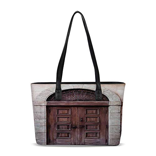 Rustic PU Shoulder Tote Bag,Arched Wooden Venetian Door with Eastern Royal Otto