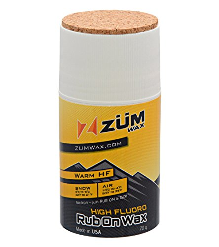 ZUMWax HIGH FLUORO RUB ON WAX Ski/Snowboard – WARM Temperature - 70 gram - HIGH FLUORO Racing RUB ON Wax at incredible price!!! Excellent spring wax!!!