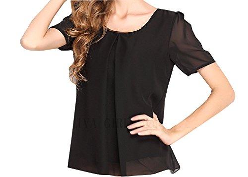 Huusa Womens Fashion Short Sleeve Chiffon Loose Top Shirt X-Large Black - Metallic Lace Ruffle Top
