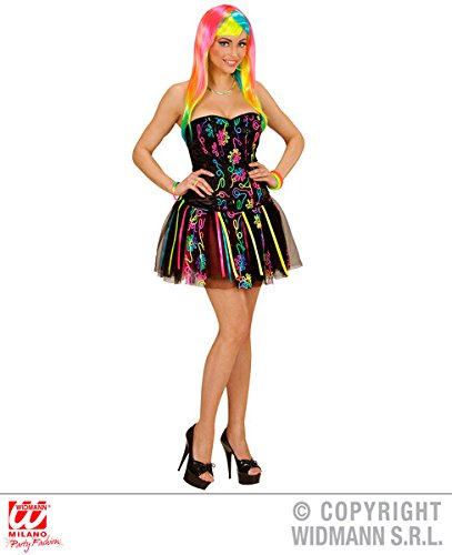 Ladies Neon Rainbow Fantasy Girl Costume for 60s 80s Glow Party Fancy Dress - Size 10 to 12