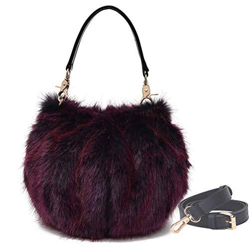 Donalworld Women Faux Fur Handbag Design Cute Gifts Winter Warm Shoulder Bag M - Womens Fur Handbag