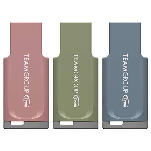 TEAMGROUP C201 32GB + 64GB + 128GB Bundle Pack USB 3.2 Gen 1 (3.1/3.0) USB Flash Drive (Matcha Green + Grown-up Pink + Monday Blue), Read up to 90MB/s, External Storage Thumb Drive Memory Stick