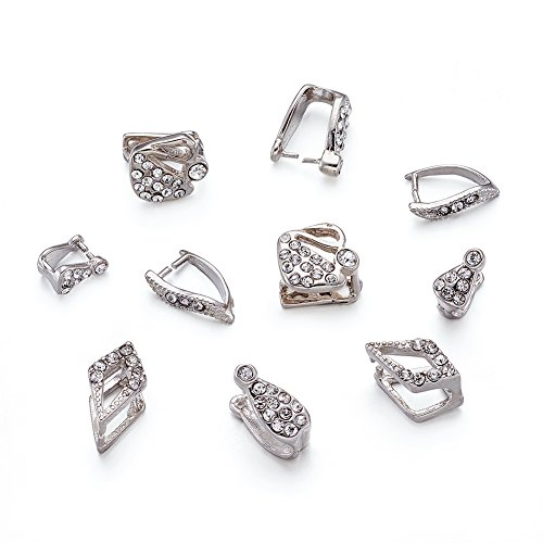 Kissitty 100-Piece Mixed Silver Rhinestone Ice Pick Pinch Bails Dangle Charm Jewelry Findings Pendant Clasps Connectors - Ice Dangle