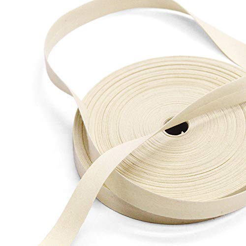 Mimi 100% Cotton 15mm Cream-Colored Single Fold Bias Tape, 27 Yard Roll, Made in Italy (Use Double Fold Bias Tape)