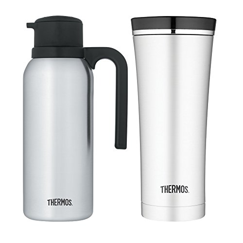 Thermos Stainless Steel Vacuum Insulated 32oz Carafe w/Travel Tumbler Bundle by Thermos