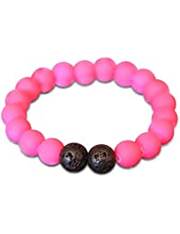 Kids Beaded Bracelet For Kids, Rubber Coated and Lava Rock Beads