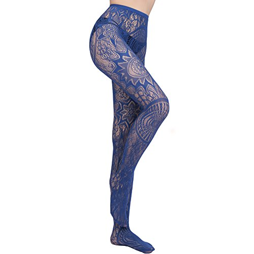 KaYaka 3 - Color Retro Totem Sexy Fishnet lace Stocking Tights for Women Plus Sizes (Navy)
