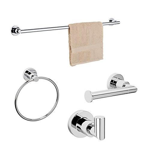 Dynasty Hardware 4000-CM-4PC Manhattan Towel Bar Set, Polished Chrome, With 24