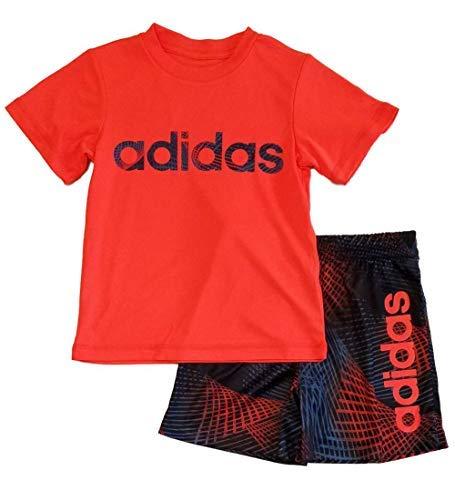 adidas Little Boys 2pc Short Sleeve Athletic T Shirt and Shorts Set (4, Red/Orange) - Lines Boy Short