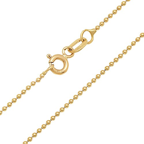 14K Yellow Gold 1.2mm Ball Link Chain Necklace with Spring Ring Clasp - 20 inches 14k Yellow Gold Spring Ring