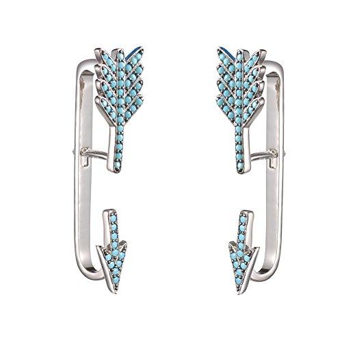 KIVN Fashion Jewelry Unique Arrow CZ Cubic Zirconia Ear Cuff Ear Crawler Climber Earring Jackets for Women (Turquoise)