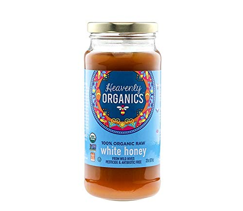 Price comparison product image Heavenly Organics 100% Organic Raw White Honey (22 Oz) Lightly Filtered to Preserve Vitamins,  Minerals and Enzymes; Made from Wild Beehives & Free Range Bees; Dairy,  Nut,  Gluten Free,  Kosher