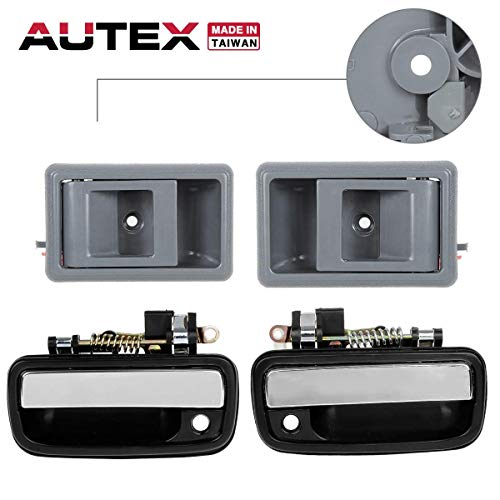 AUTEX Door Handle 2 Exterior 2 Interior Front Left/Right Set Compatible with Toyota Tacoma 1995 1996 1997 1998 1999 2000, 2 Chrome 2 Gray ()