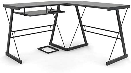 Amazon Com Metal Desk With Glass Top And Keyboard Tray Computer