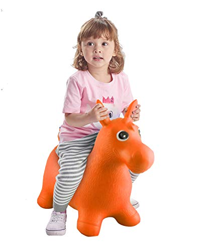 Rubber Bouncy Horse for Toddlers, Baby Bouncer, Bouncing Hopper Animals, Kids/Infant Riding Toys for Girl and Boy, Inflatable Farm Hopping/Hoppity Hop Balls (Orange)