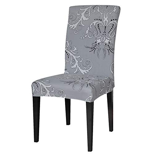 TIKAMI 4PCS Spandex Printed Fit Stretch Dinning Room Chair Slipcovers (4, Gray)