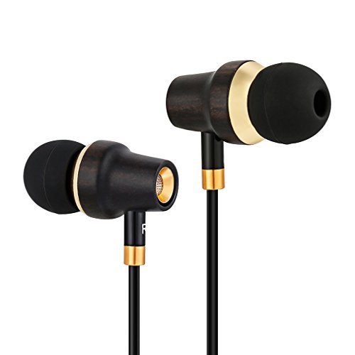 Large Product Image of In Ear Headphones, Elepawl Genuine Wood Noise-isolating Earbuds Stereo Earphones with Microphone for Apple iPhone, iPad, iPod, Android Smart Phone, Tablet and More