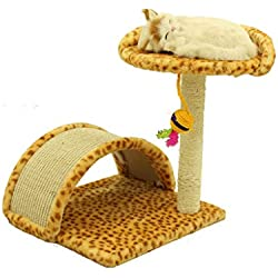 XLO Cat Tree Sisal-Wrapped Scratching Posts, Plush Perches Condos, Kitten Tower Climbing Toys Activity Tree with Perches (Color : Leopard)