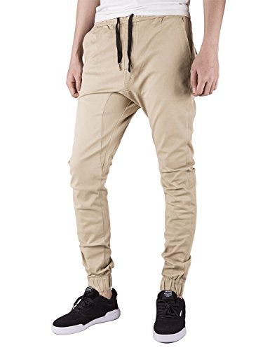 ITALY MORN Mens Chino Jogger Pants Casual Khaki Slim Fit Jogging Pant (L, Cream Khaki)