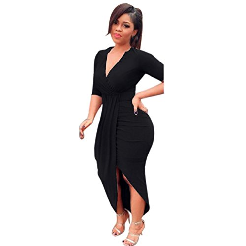 Women Dress Daoroka Women's Sexy Deep V-Neck Bandage Bodycon Casual Long Sleeve Pleated Party Evening Slim Sheath Knee Length Skirt Ladies New Fashion Spring Autumn Novelty Dress (L, Black) by Daoroka Women Dress