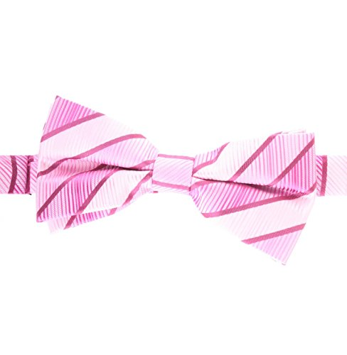 White Stripe Boys Tie (Men's/Boy's Bow Ties Candy Stripe Pink and White, with Hot Magenta, Persian Rose & Carnation - by Jon vanDyk)