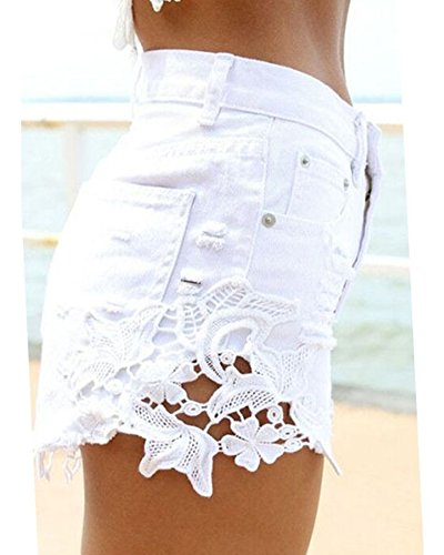 Con Pants Denim Pizzo Hot Vita Bianco Tasche Pantaloni Distressed Jeans Shorts Alta Donna vZFWwx11