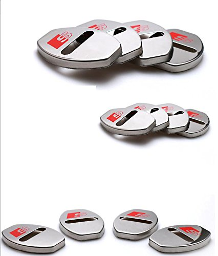 Toworld18 4PCS Metal Car Door Lock cover Stopper Buckle Case Cover for Audi A3 A4 A5 A6 Q3 Q5 Q7