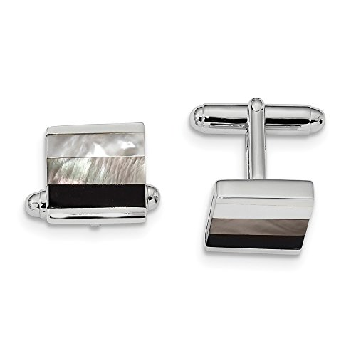 - Sonia Jewels Sterling Silver Simulated Onyx and White/Grey Cuff Links (18.5mm x 19.6mm)