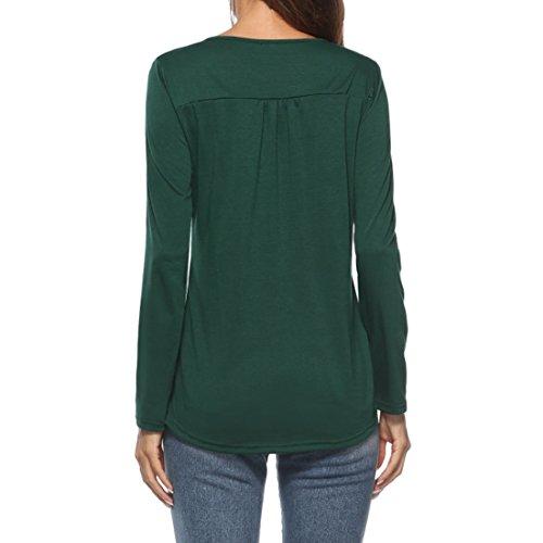 Donna MUCHAO Inverno Camicia Maniche e T Abbigliamento Unita Autunno Lunghe Scuro Shirt Bottone Verde Tinta r5IqwrZ