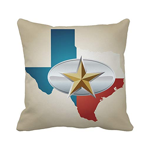 Awowee Throw Pillow Cover Blue Texas Flag and State Shape Star Belt Buckle 18x18 Inches Pillowcase Home Decorative Square Pillow Case Cushion Cover ()