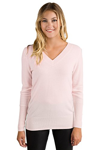 JENNIE LIU Women's 100% Pure Cashmere Long Sleeve Ava V Neck Pullover Sweater (S, PetalPink)
