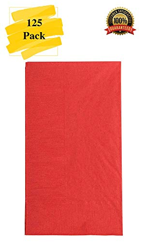 (MM Foodservice 125 Count 2 Ply Paper Dinner Napkins perfect for Weddings, Parties, Dinners or Events (RED))