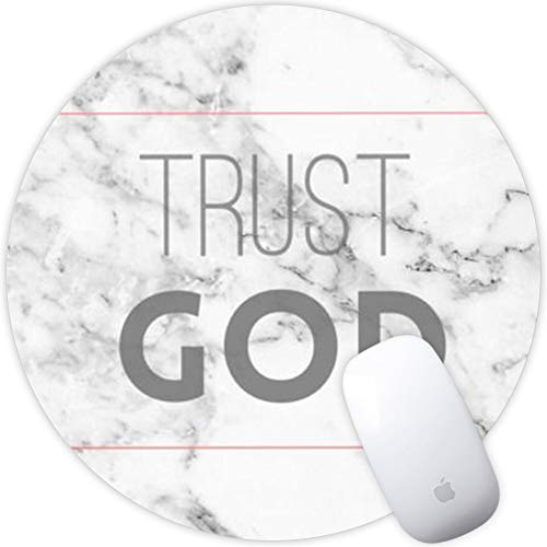 Marble Trust God Mouse Pad Non-Slip Art Print Mouse for Office Round Laptop Computers Laptop PC Gaming Office & Home Mat for Desktop