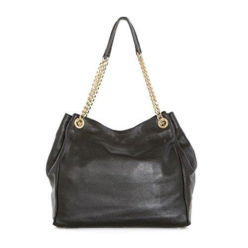 Arcadia Vincenza italienne cuir matelassé épaule sac à main avec la chaîne de couleur or - noir